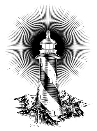 Original wood block or wood cut style lighthouse illustration Imagens - 30819263