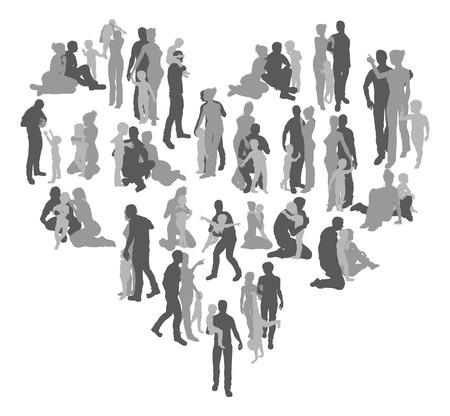 Una forma de corazón de siluetas de una familia, padre, madre, amante y el hijo. Concepto para el amor de la familia