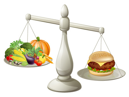 Healthy eating will power concept, healthy food on one side of scales and fast food burger on the other. Burger is weighing more.
