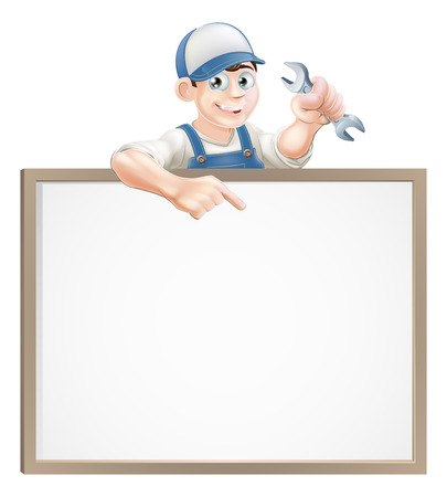 A plumber or mechanic holding a wrench or spanner and peeping over a sign and pointing