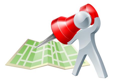 地図のピンや鋲で地図上の位置をマークしたり、どこへ行くについての決断を約銀人
