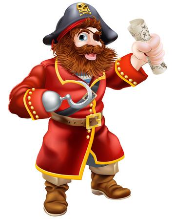 Een cartoon piraat met ooglapje en haak met een schatkaart scroll