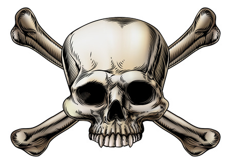 Skull and crossbones drawing with skull in the center of the crossed bones Ilustração