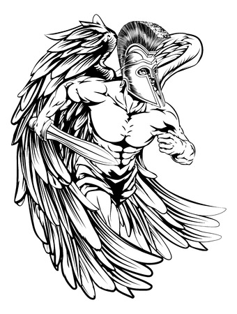 Una ilustración de un guerrero carácter ángel o deportes mascota en un casco de estilo troyano o espartano que sostiene una espada