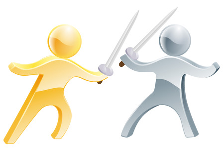 Two fencers fencing with swords, one gold person, one silver