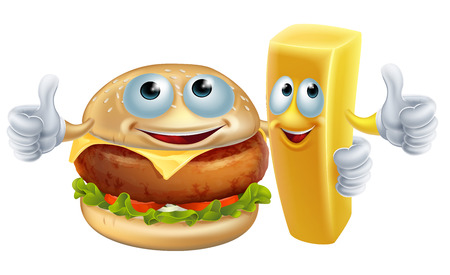 Een illustratie van hamburger en frietjes eten karakter mascottes arm in arm met een thumbs up