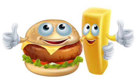 Una ilustración de hamburguesa y patatas fritas carácter del alimento de las mascotas de brazo en brazo con un pulgar hacia arriba