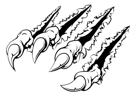Black and white illustration of monster claws breaking through ripping tearing and scratching the wall or metal or paper background Ilustração