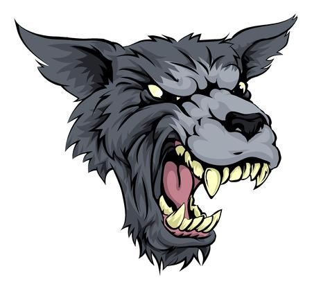 으르렁 대는 흑백의 짖는 늑대 인간 또는 늑대 등장 인물의 그림 일러스트