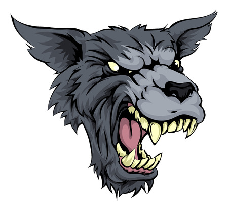 Illustration of a mean looking werewolf or wolf character roaring and snarling in black and white