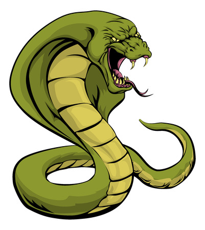 An illustration of a cobra snake sports mascot about to strike