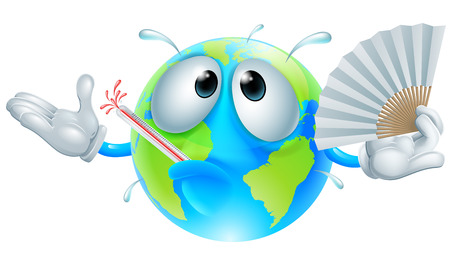Global warming concept of a very hot globe character with a fever sweating, fanning with a paper hand fan and bursting a thermometer Ilustrace