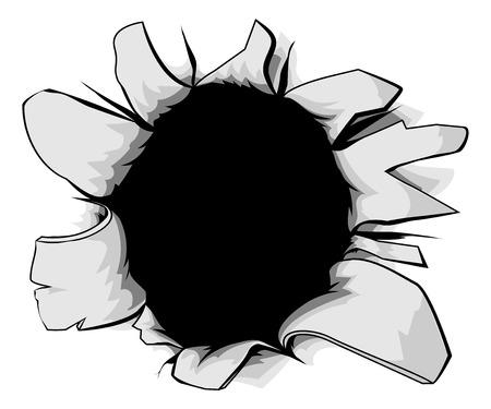 A torn circular hole, perhaps a bullet hole from a gunshot Illustration