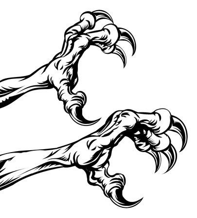 An illustration of eagle or monster animal claws or talons Vector Illustration