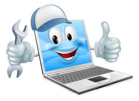 A cartoon laptop computer repair mascot with a cap and spanner doing a thumbs up