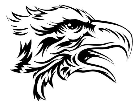 Eagle hoofd als dat van een kale arend of andere roofvogel