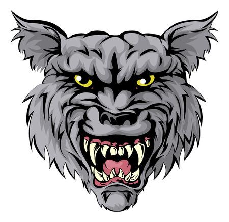 치열한 늑대 동물 캐릭터 나 스포츠 마스코트의 그림