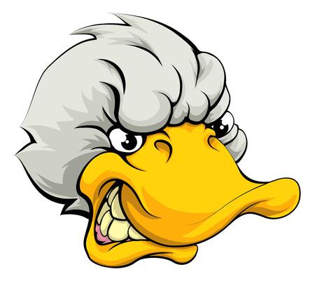 Une illustration d'un regard moyen mascotte de sport de canard