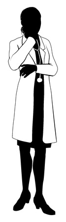 A female doctor with white coat and stethoscope in silhouette with hand on chin in thought