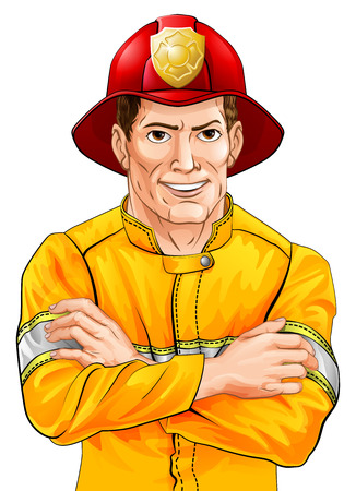 An illustration of a happy handsome firefighter fireman with his arms folded Ilustração
