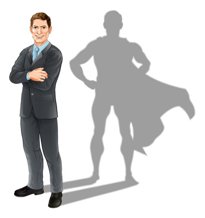 Hero businessman concept, illustration of a confident handsome business man standing with his arms folded with superhero shadow