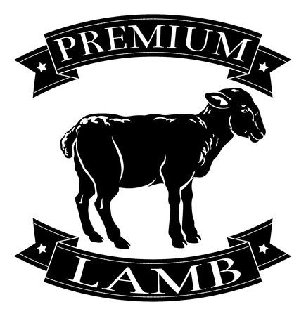 Prime menu agneau icône d'un agneau et bannières dans un style de timbre Vecteurs