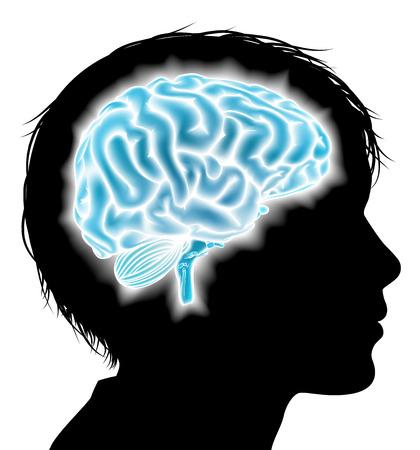 頭脳との熱烈なシルエットでチャイルズ頭。子供の精神的、心理的な開発、脳の発達、学習と教育、精神的な刺激や他の医療のテーマのコンセプト