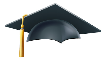An illustration of a Graduation or convocation mortar board hat or cap Ilustração
