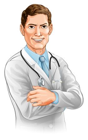 Eine glückliche schöne Arzt Charakter mit seinen Armen gefaltet