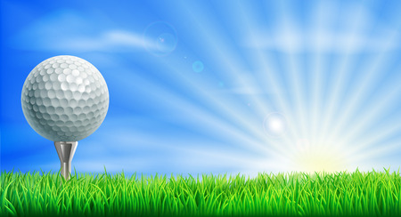 A golf ball on its tee in a green grass field golf course with sun rising. Vectores