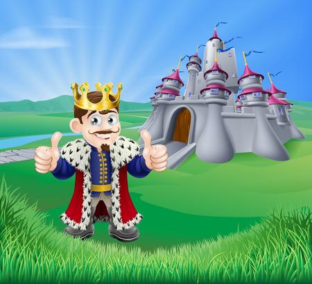 Ilustracja króla kreskówki dając kciuki do góry i bajkowy zamek w zielony krajobraz wzgórz