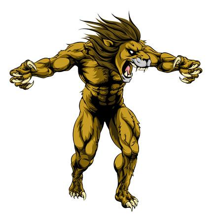 Eine Abbildung eines Löwen beängstigend Sport-Maskottchen mit Krallen aus