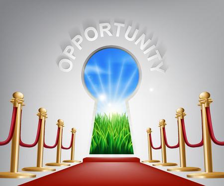 Gelegenheit Türschlüsselloch. Konzept der ein Schlüsselloch mit einer neuen Morgendämmerung über grüne Landschaft und roten Teppich und Seilen führt bis zu ihr.