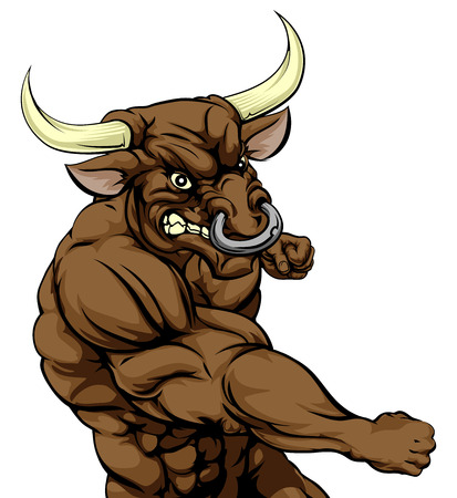 A tough muscular bull character sports mascot attacking with a punch Illustration