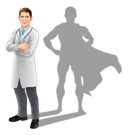 Concepto de héroe médico, ilustración de un guapo médico confiado de pie con los brazos cruzados con sombra de superhéroe
