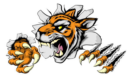 An illustration of a snarling tiger head bursting through a wall