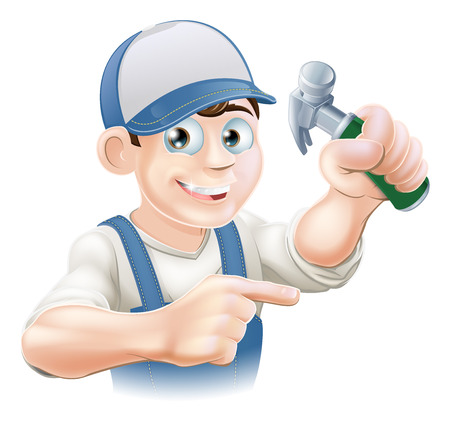 A cartoon carpenter or other construction worker pointing and holding a claw hammer