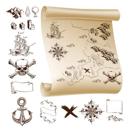 Przykład map i elementów projektu tworzenia własnych fantazji i mapy skarbów. Zawiera góry, budynki, drzewa, kompas, statek czaszką i piszczelami i więcej. Ilustracje wektorowe