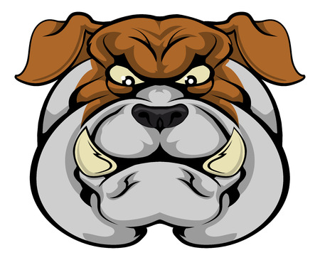 A mean looking bulldog mascot character staring forward