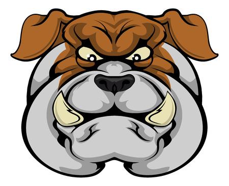 Een gemiddelde op zoek bulldog mascotte karakter staren vooruit