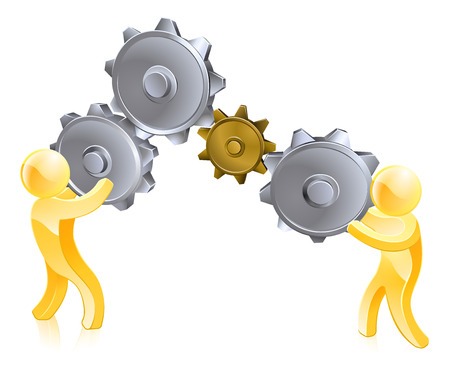 An illustration of two gold men turning big gears or cogs