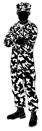 An illustration of a military soldier standing with arms folded in silhouette
