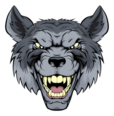 A mean looking wolf mascot character growling