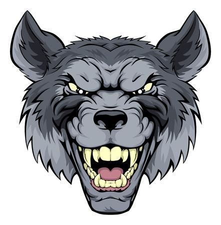 Een gemiddelde op zoek wolf mascotte karakter grommen