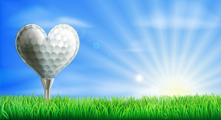 A heart shaped golf ball on its tee in a green grass field golf course. Conceptual illustration for a love of golf