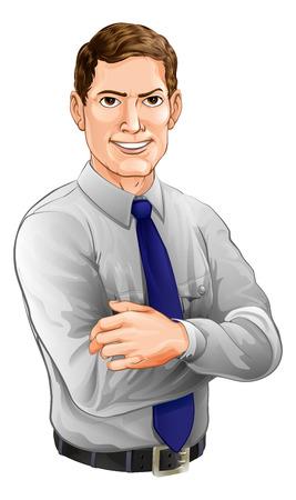 Een illustratie van een knappe man met de armen over elkaar dragen van een overhemd en stropdas