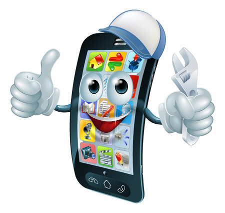 Mobile phone repair character with wrench or spanner giving thumbs up Illustration