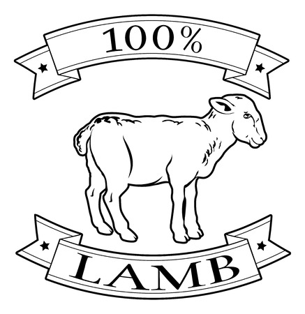 Lamb 100 percent label with lamb or sheep and reading 100 percent lamb