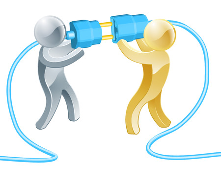 Conceptual illustration of two people connecting a giant plug