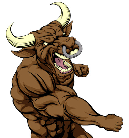 A mean looking bull character mascot fighting and punching with fist